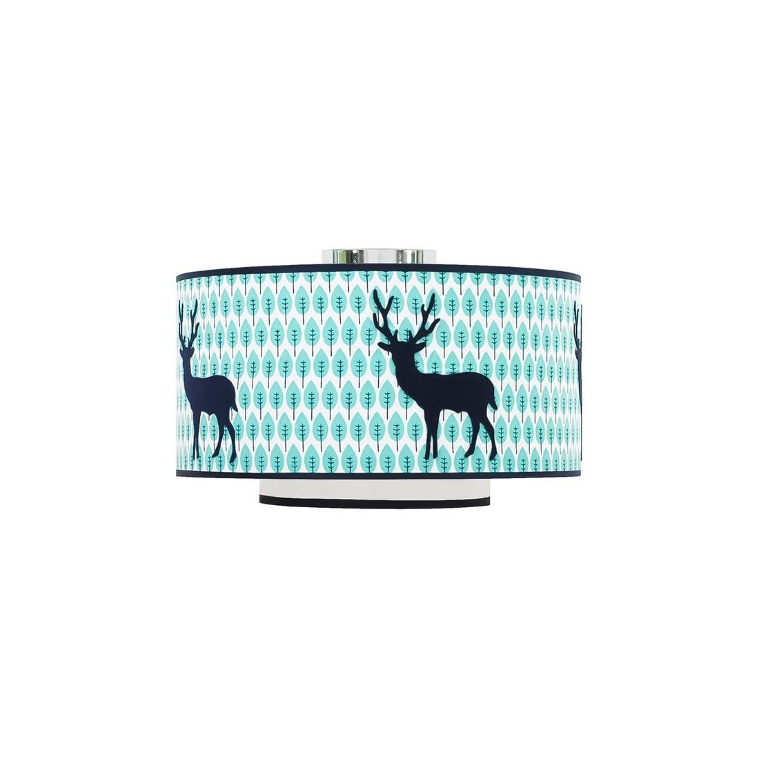 plafonnier enfant double abat jour cerf bleu vert ma. Black Bedroom Furniture Sets. Home Design Ideas