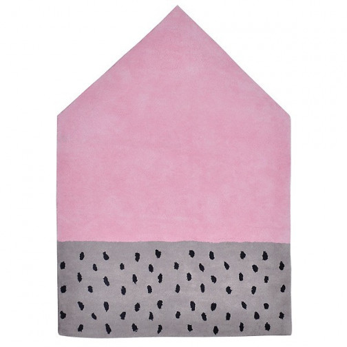tapis enfant coton maison rose et gris ma chambramoi. Black Bedroom Furniture Sets. Home Design Ideas