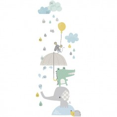 Toise adhésive enfant Eléphant et Crocodile sous la pluie - Lilipinso