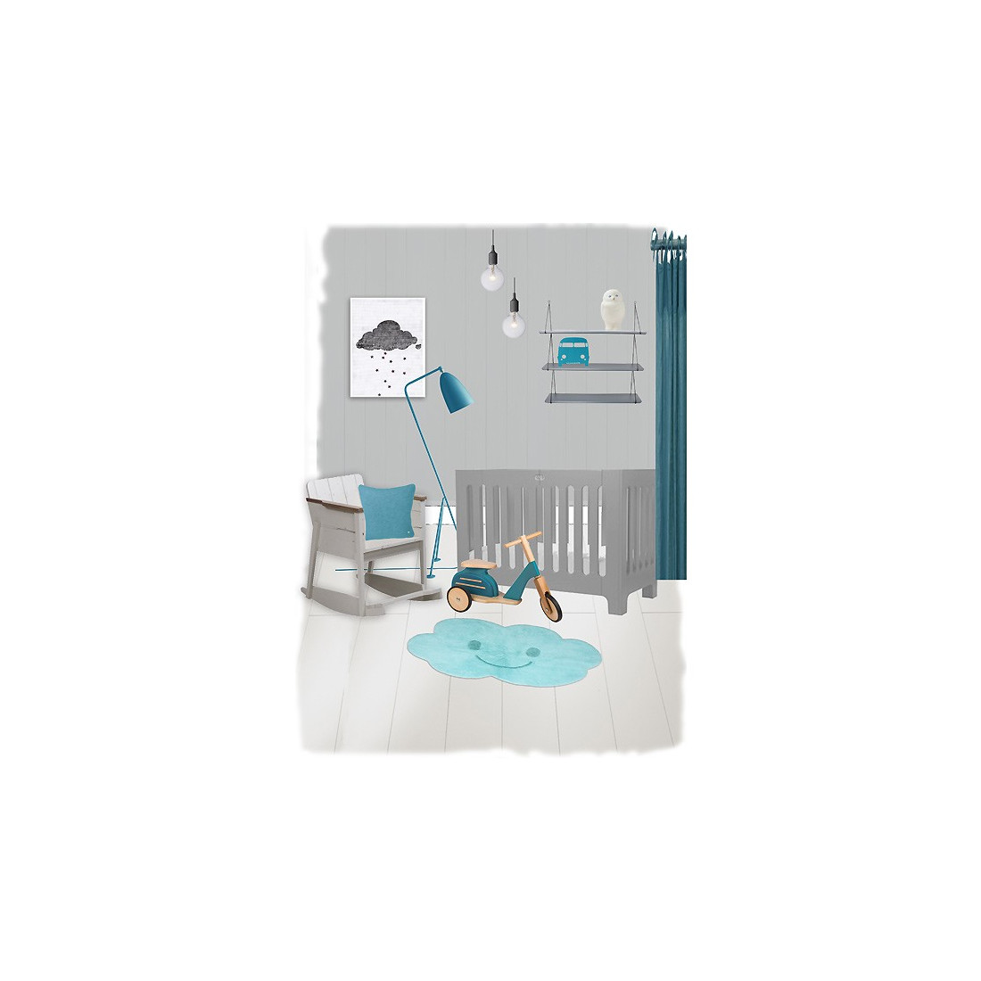 tapis enfant lavable nuage bleu nimbus nattiot ma chambramoi. Black Bedroom Furniture Sets. Home Design Ideas