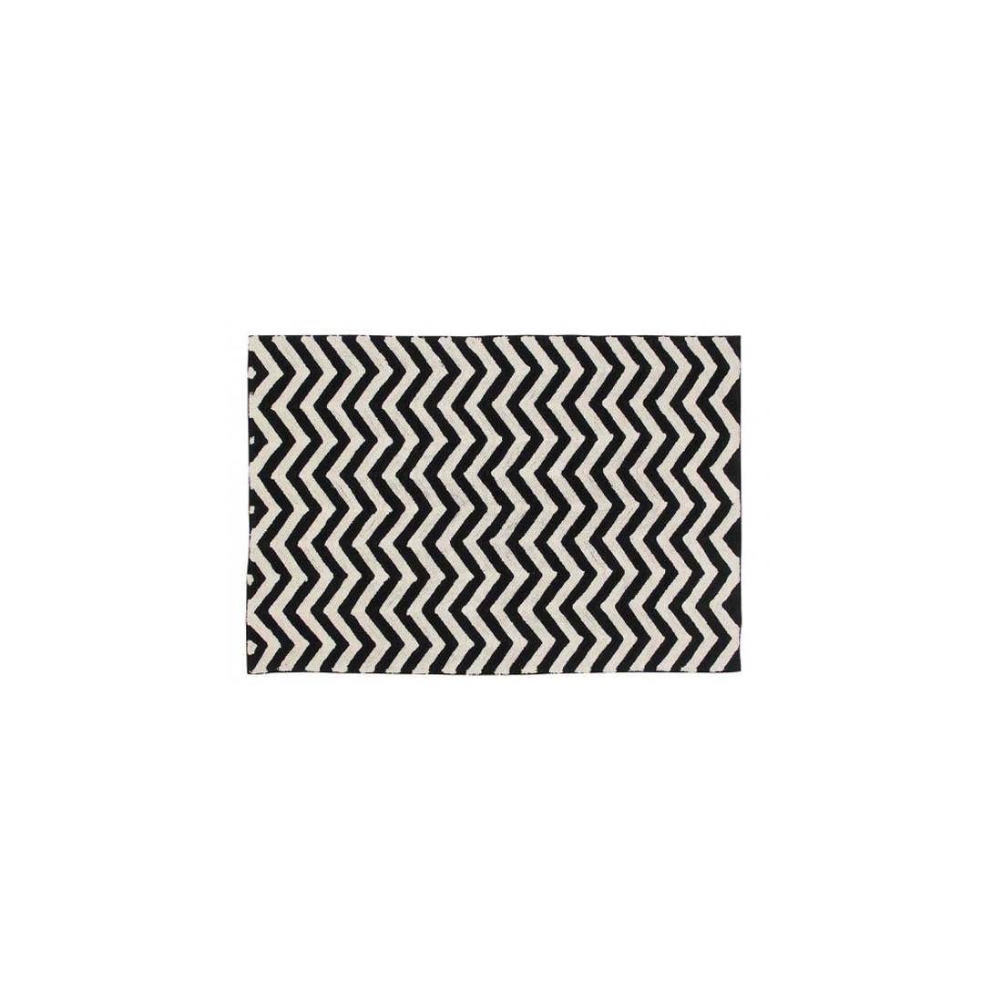 tapis lavable noir et blanc zig zag lorena canals ma. Black Bedroom Furniture Sets. Home Design Ideas