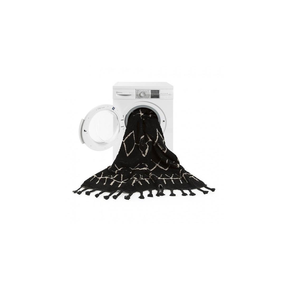 tapis lavable noir motifs g ometriques blanc berbere. Black Bedroom Furniture Sets. Home Design Ideas
