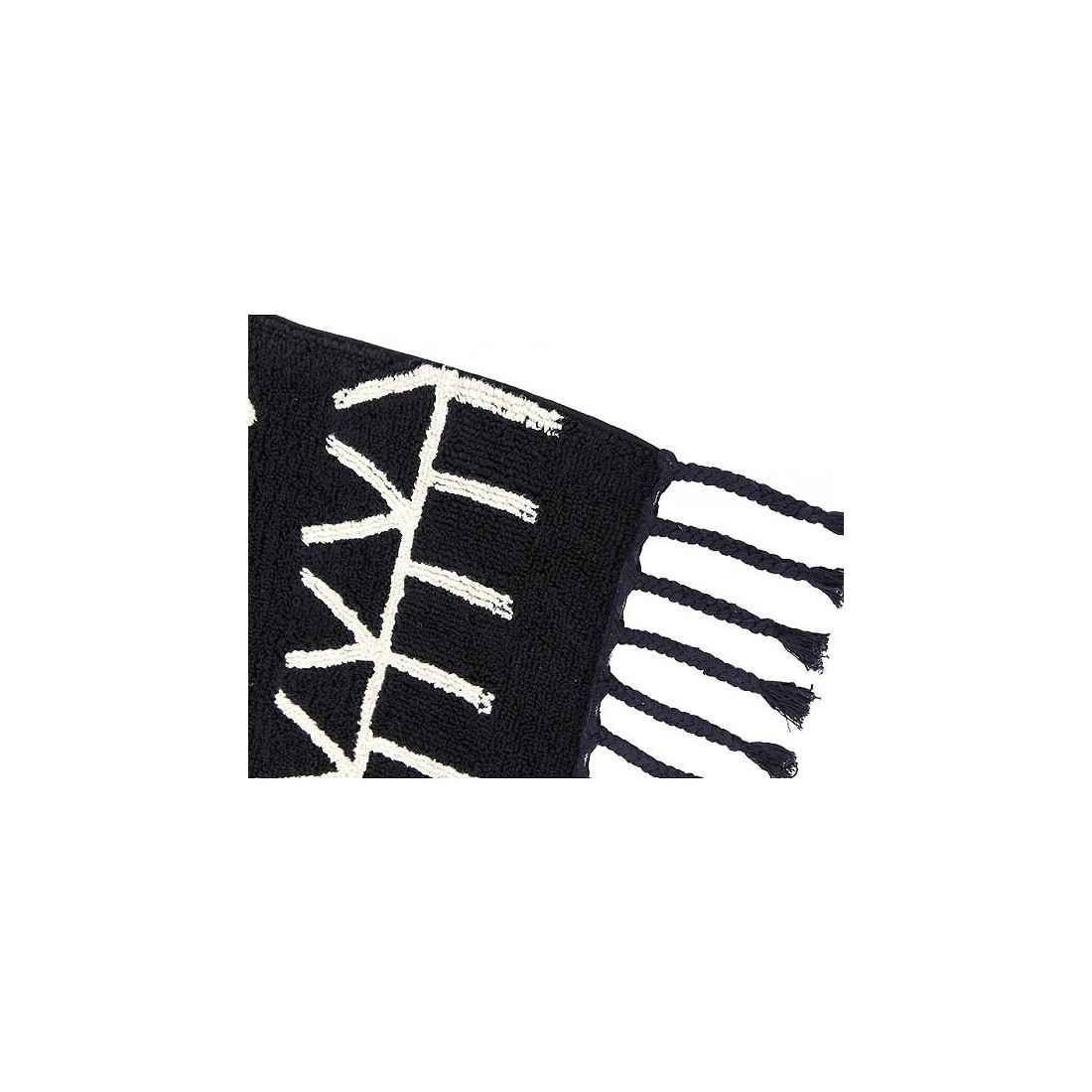 Tapis lavable noir motifs g ometriques blanc berbere - Tapis motif geometrique ...