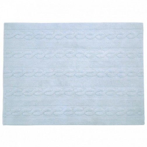 tapis lavable torsades bleu clair lorena ma chambramoi. Black Bedroom Furniture Sets. Home Design Ideas