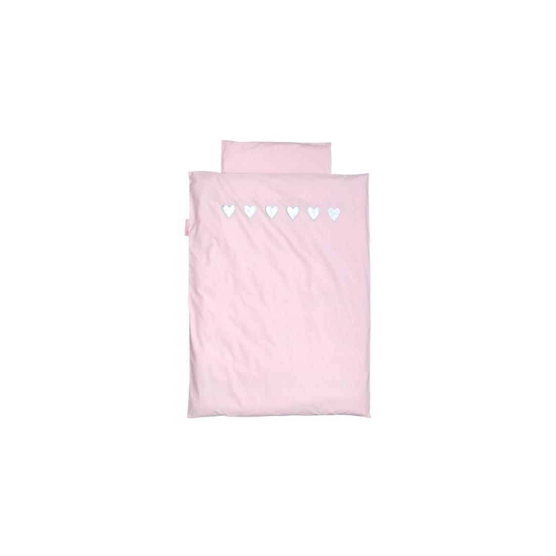 Housse de couette rose coeur argent taftan 140 x 200 cm for Housse de couette junior