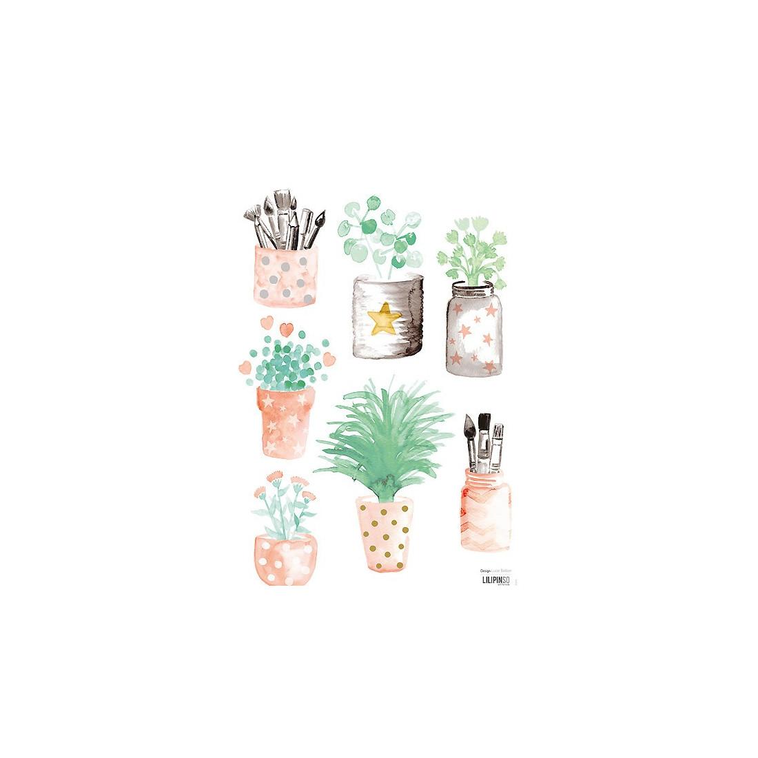 Chambre Bebe Louis : Sticker enfant petits pots de fleurs lilipinso ma chambramoi
