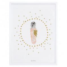 Tableau enfant Affiche encadrée Plumes et étoiles Lilipinso