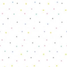 Papier peint blanc Pois multicolores