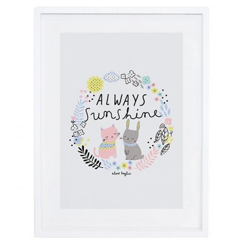 Tableau enfant Affiche encadrée Happy clouds Lilipinso