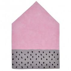 Tapis enfant coton Maison rose et gris
