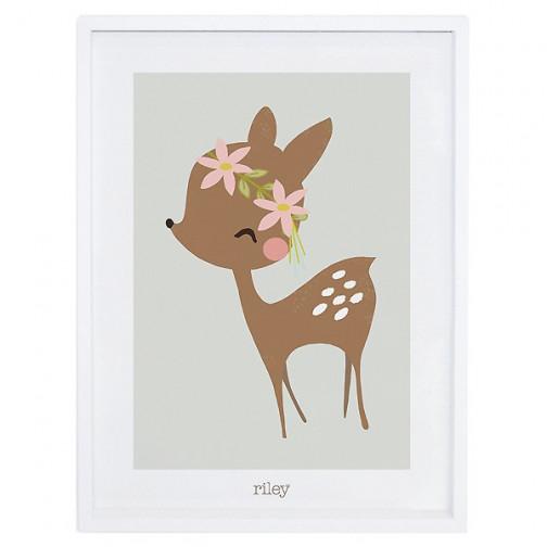 Tableau enfant Affiche encadrée Faon et fleurs