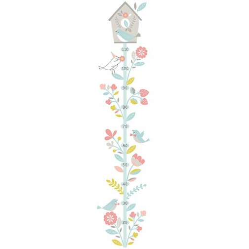 Toise sticker fleurs cabane oiseaux