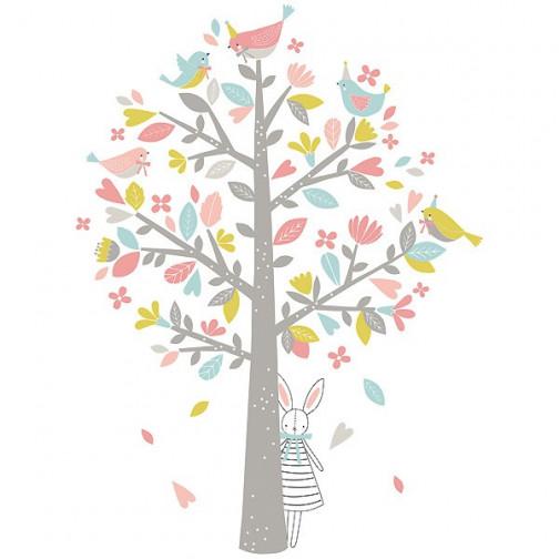 Sticker enfant XL L'arbre aux moineaux roses