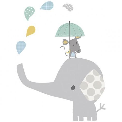 Sticker enfant XL Eléphant sous la pluie - Lilipinso