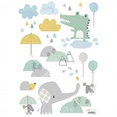 Sticker enfant Eléphant sous la pluie - Lilipinso