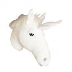 Déco murale enfant peluche tête de Licorne blanche - Bibib