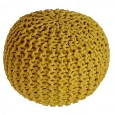 Pouf enfant Coton effet maille tricot Lili jaune Nattiot