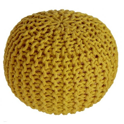 Pouf enfant Coton effet maille tricot Lili jaune - Nattiot