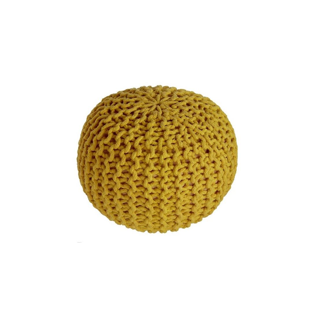 pouf enfant coton effet maille tricot lili jaune nattiot ma chambramoi. Black Bedroom Furniture Sets. Home Design Ideas