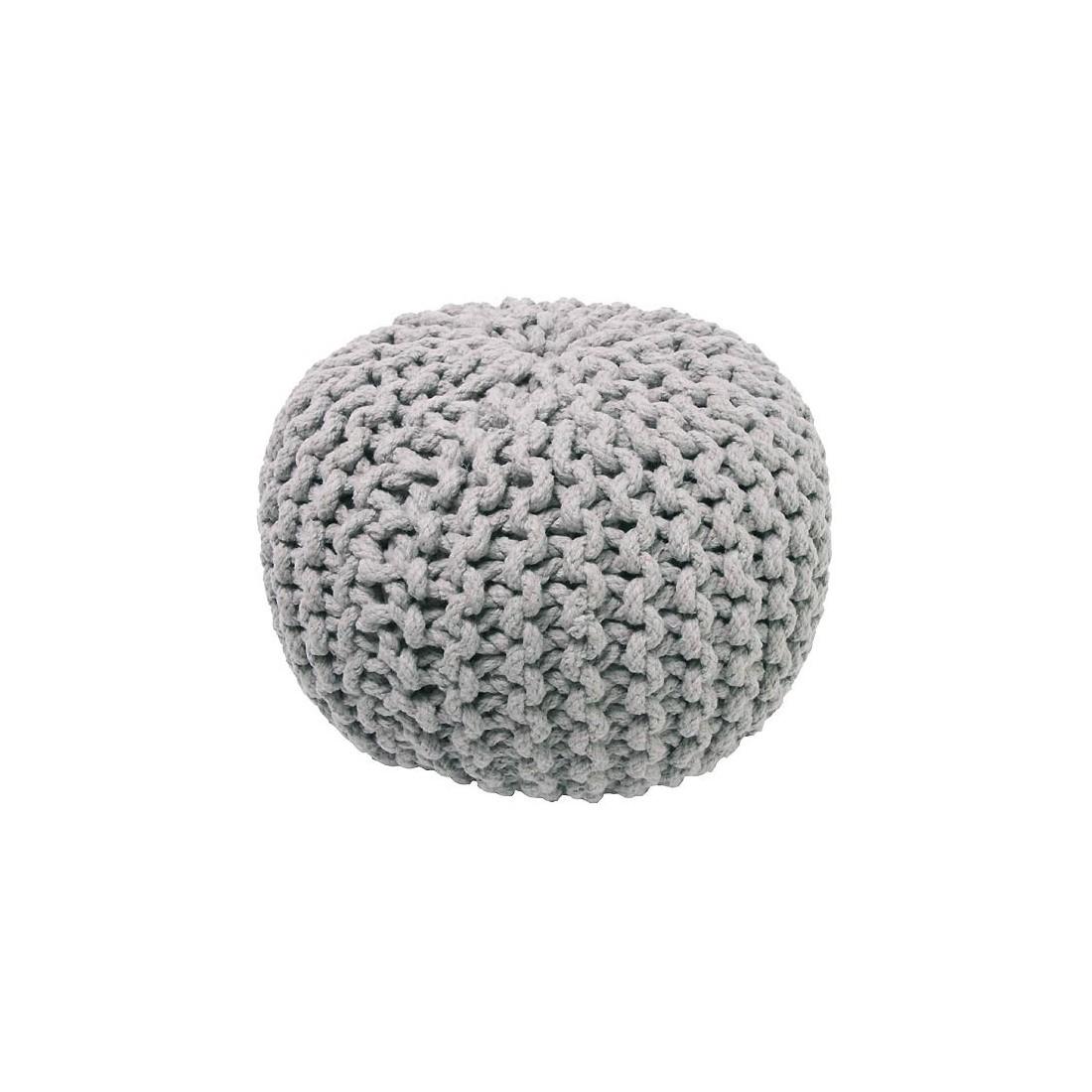 pouf enfant coton effet maille tricot lili gris nattiot ma chambramoi. Black Bedroom Furniture Sets. Home Design Ideas