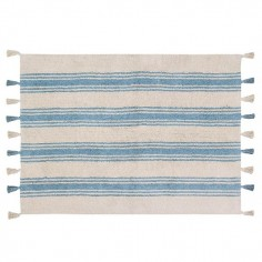 Tapis lavable beige Rayures bleu - Lorena Canals