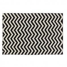 Tapis lavable noir et blanc Zig Zag - Lorena Canals