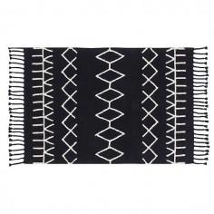 Tapis lavable noir Motifs géometriques blanc Berbere - Lorena Canals
