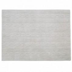 Tapis lavable Torsades gris clair - Lorena
