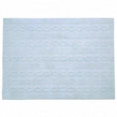 Tapis lavable Torsades bleu clair - Lorena