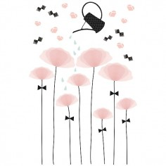 Sticker enfant XL Coquelicots rose - Lilipinso