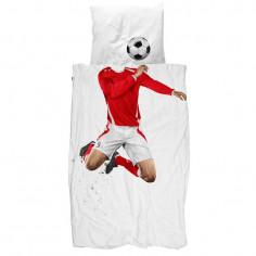 Housse de couette enfant 3D Footballeur rouge - Snurk