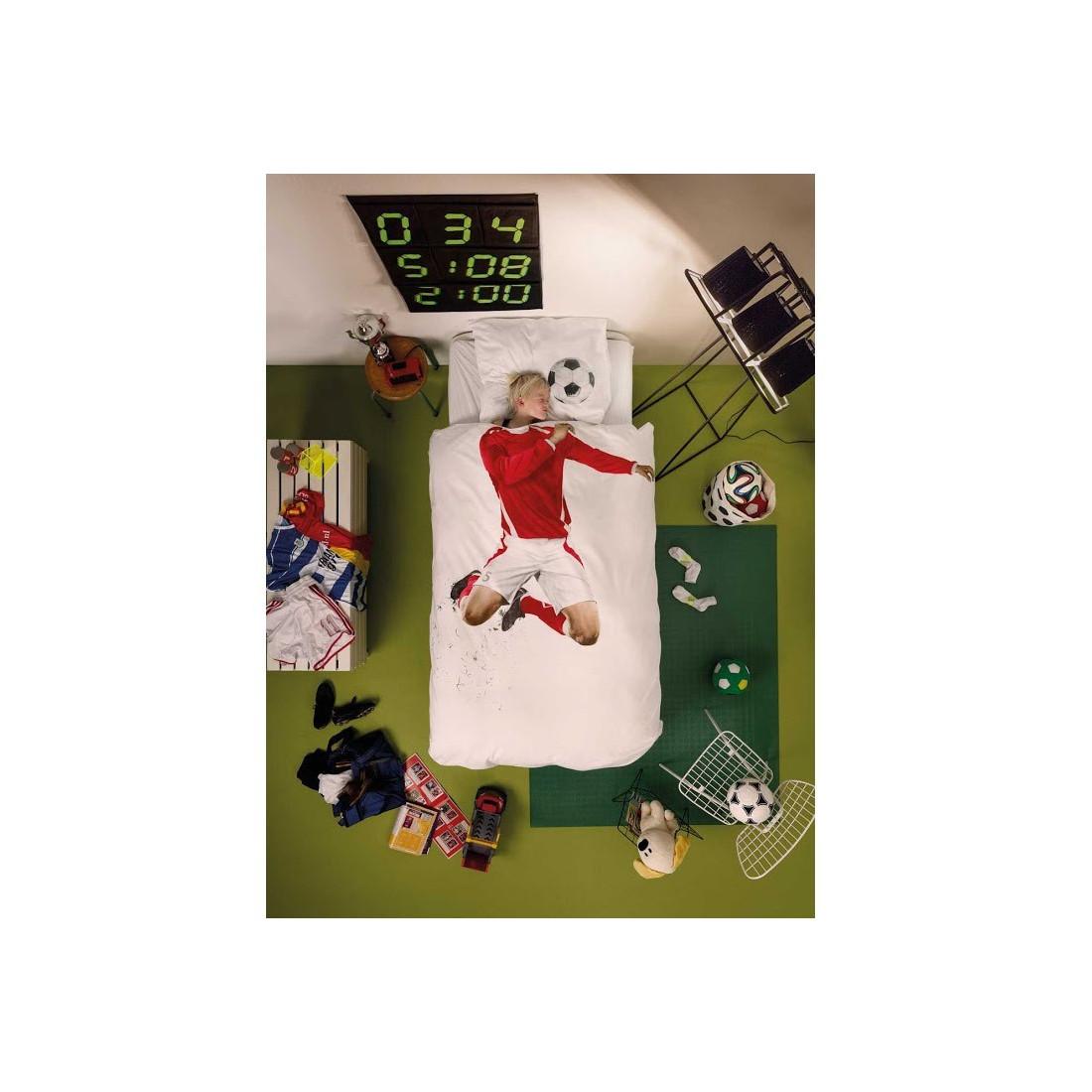 Housse de couette enfant 3d footballeur rouge snurk ma for Housse de couette dimension