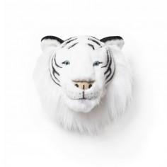 Déco murale enfant peluche Tête Tigre blanc Bibib