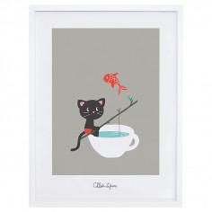 Tableau enfant Affiche encadrée Chat Moka à la pêche Lilipinso