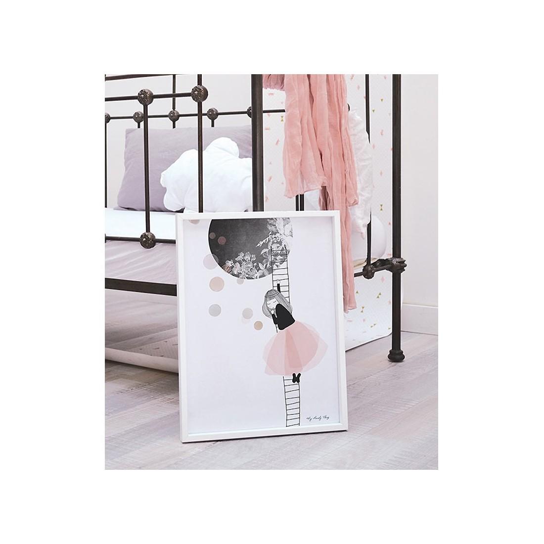 tableau enfant affiche encadr e sieste sur la lune lilipinso ma chambramoi. Black Bedroom Furniture Sets. Home Design Ideas
