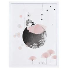 Tableau enfant Affiche encadrée Sieste sur la lune Lilipinso