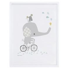 Tableau enfant Affiche encadrée Eléphant à vélo Lilipinso