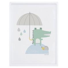 Tableau enfant Affiche encadrée Crocodile sous la pluie Lilipinso