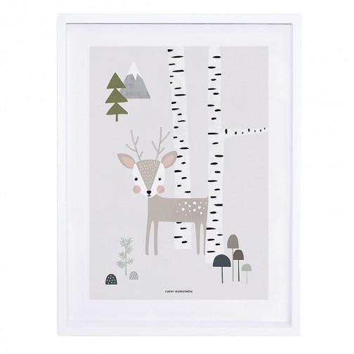 Tableau enfant Affiche encadrée Faon dans la forêt - Lilipinso