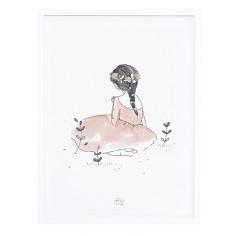 Tableau enfant Affiche encadrée Jeune fille au jardin Lilipinso