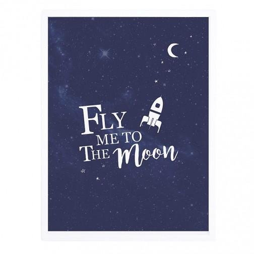 Tableau enfant Affiche encadrée Voyage sur la lune - Lilipinso