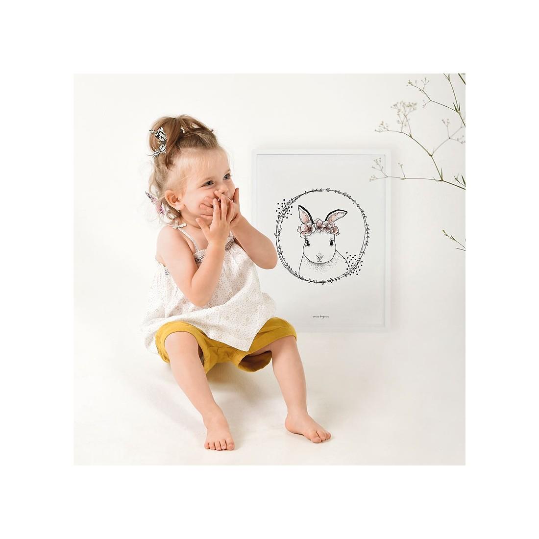 tableau enfant affiche encadr e lapin blanc lilipinso ma. Black Bedroom Furniture Sets. Home Design Ideas