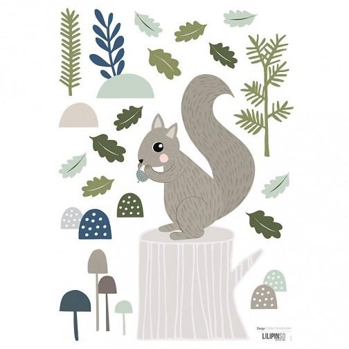 sticker enfant ecureuil sur un tronc d 39 arbre lilipinso ma chambramoi. Black Bedroom Furniture Sets. Home Design Ideas