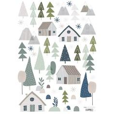 Sticker enfant Arbres et cabanes forêt Lilipinso
