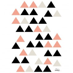 Sticker enfant Triangles rose corail noir et gris - Lilipinso