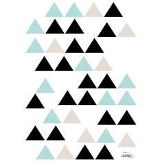 Sticker enfant Triangles menthe noir et gris - Lilipinso