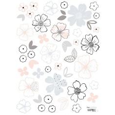 Sticker enfant Fleurs grises et roses Lilipinso