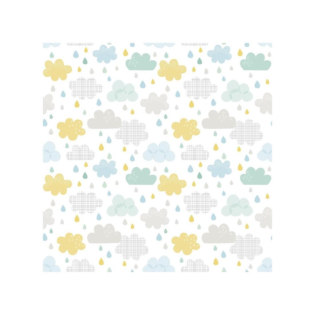 Papier peint enfant nuages et pluie lilipinso ma chambramoi - Papier peint chambre enfant ...