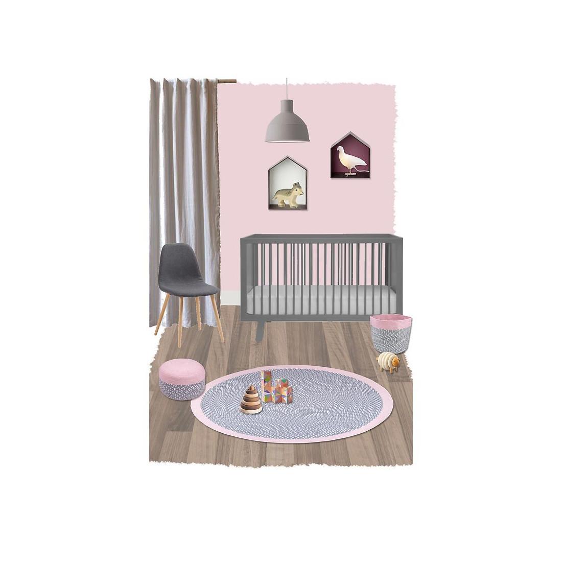 tapis enfant coton rond brenda rose nattiot ma chambramoi. Black Bedroom Furniture Sets. Home Design Ideas