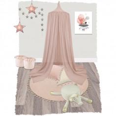 Tapis enfant rond avec pompons rose - Nattiot